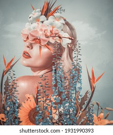 Abstract contemporary art collage portrait of young woman with flowers - Shutterstock ID 1931990393