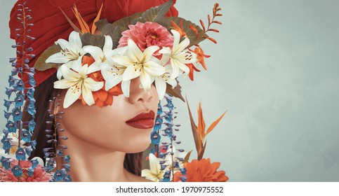 Abstract contemporary art collage portrait of young asian woman with flowers hides her face