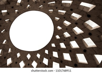 Abstract contemporary geometrical design sun shaped pierced ceiling as background image