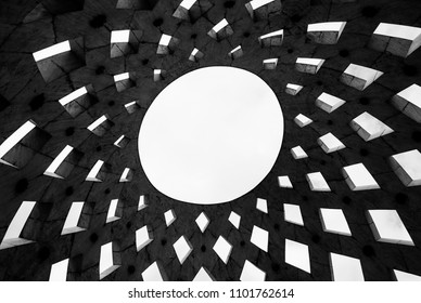 Abstract contemporary sun shaped roof texture as background, black and white image