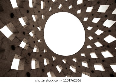 Abstract contemporary sun shaped roof texture as background