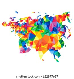 Abstract continent of Eurasia from triangles. Origami style. Polygonal pattern for your design.