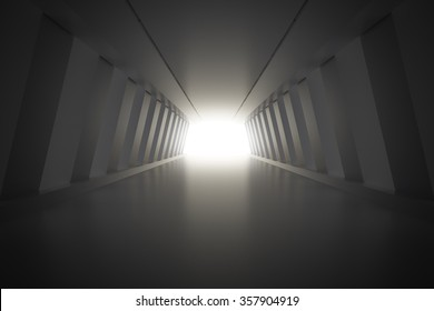 Abstract corridor interior with light. 3d render illustration