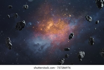 Abstract cosmic background with asteroids and glowing stars. Elements of this image furnished by NASA