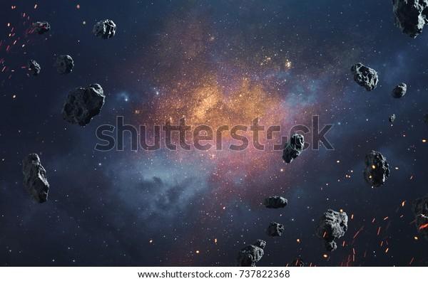 Абстрактный космический фон с астероидами и светящими звездами. Глубокий космический образ, фантастика фантазии в высоком разрешении идеально подходит для обоев и печати. Элементы этого изображения, предоставленные НАСА