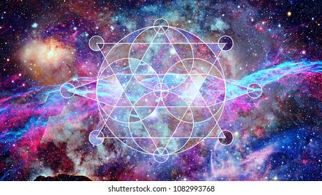 Abstract cosmos geometric background with polygons, triangles, stars and nebula. Polygonal cloudscape backdrop. Elements of this image furnished by NASA.