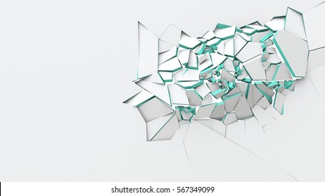 Abstract of cracked surface. 3d render background with broken shape. Wall destruction.