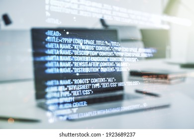 Abstract creative coding concept on modern laptop background. Multiexposure