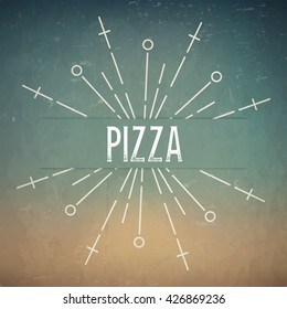 Abstract Creative concept design layout with text - pizza. For web and mobile icon isolated on background, art template, retro elements, logos, identity, labels, badge, ink, tag, old card.