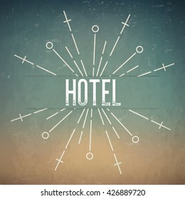 Abstract Creative concept design layout with text - hotel. For web and mobile icon isolated on background, art template, retro elements, logo, identity, labels, badge, ink, tag, card.