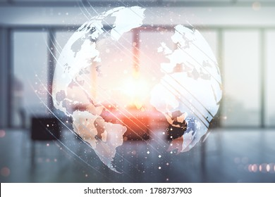 Abstract creative world map interface on a modern conference room background, international trading concept. Multiexposure