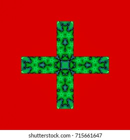 abstract of a cross in green with a red background