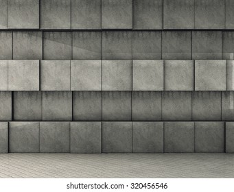 Abstract cube concrete geometric background. 3D render
