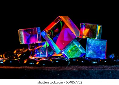 Abstract Cubes concept reflecting bright prism colors in unique background