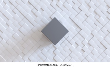 Abstract cubic background. White diagonal cubic structure with big main cube in the center. 3d rendering