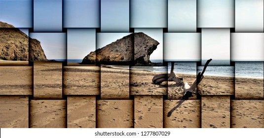 abstract cubist three-dimensional effects of indiana Jones movie stage and the last crusade, tongues of lava eroded by the sea, the auto clastic gaps or pyroclastic andesite, The petrified wave, beach