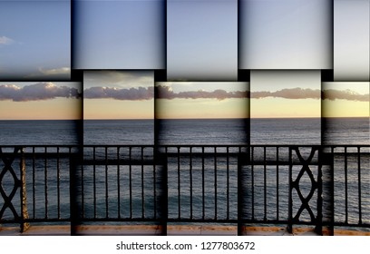 abstract cubist three-dimensional effects of sunset from the balcony of Europe, Mediterranean Sea, Nerja, Málaga, Spain,peace, calm, serenity, harmony, fullness, well-being, nature, natural,