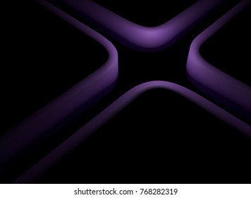 abstract curly violet maze road background, 3d illustration