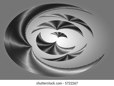 Abstract curved shapes of varying sizes in silver, grey, white and black, reducing towards a white center. Set against a silver grey background.