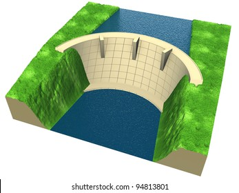 abstract  dam in an stylized landscape, 3d render isolated on white