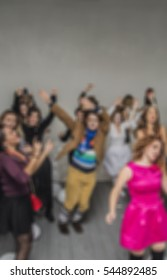Abstract dance party.  people dancing on gray background. empty copy space for inscription or other objects. Dance background.