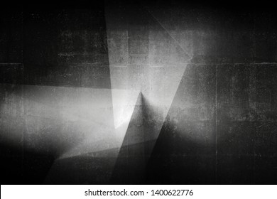 Abstract dark architectural pattern, black concrete design fragment with corners. Background photo with multi exposure effect
