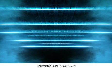 Abstract dark background with brick wall and neon light. Neon blue rays. Dark tunnel with neon blue light, abstract pyramid, light triangle.