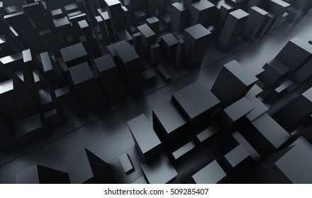 Abstract dark blocks city with wire frame. 3D render