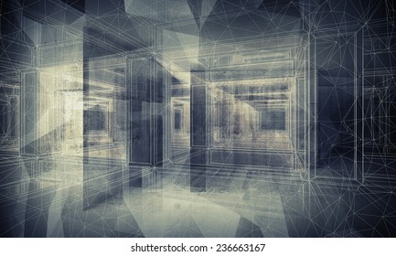 Abstract dark blue digital interior 3d background with perspective wire-frame view of dark corridor