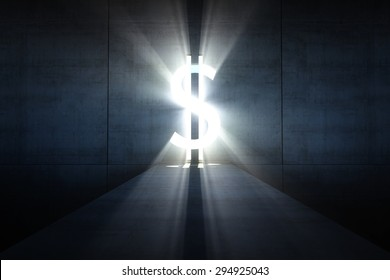 Abstract dark concrete interior with glowing Dollar-shaped doorway and light coming in.