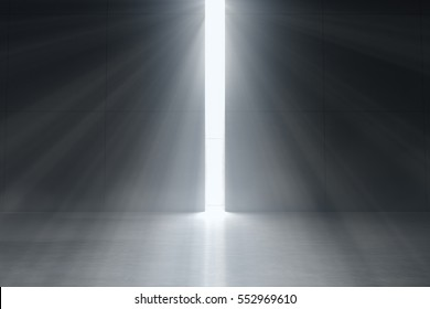 Abstract dark concrete interior with glowing doorway and God light rays coming in. Business Concept. 3d rendering