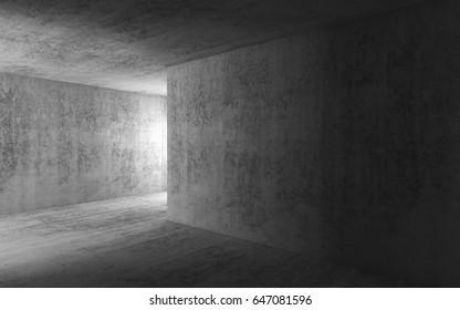 Abstract dark empty concrete interior background, corridor with glowing doorway, 3d render illustration