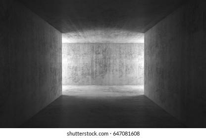 Abstract dark empty concrete interior background, corridor with glowing doorways, 3d render illustration