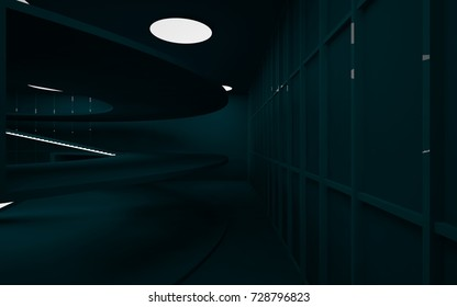 Abstract dark interior multilevel public space with neon lighting. 3D illustration and rendering.