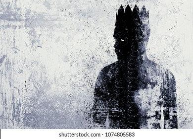 Abstract dark king sketch on textured concrete wall background