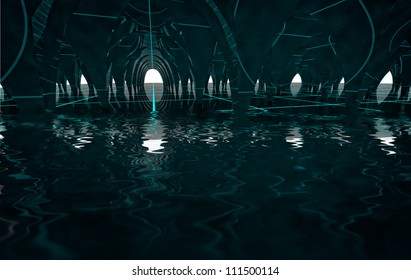 abstract dark lost column underground architectural dome with lighting stripes and reflections in water render background