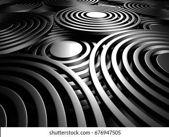 Abstract Dark Metallic Round Circles Design Background. 3d Render Illustration