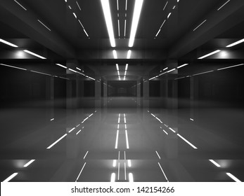 Abstract dark modern interior with shining black mirror walls and white neon lights