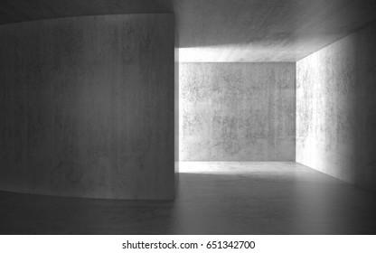 Abstract dark room with glowing doorway, concrete interior background, 3d render illustration
