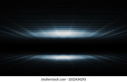 Abstract dark shining digital interior background with square relief pattern, 3d illustration