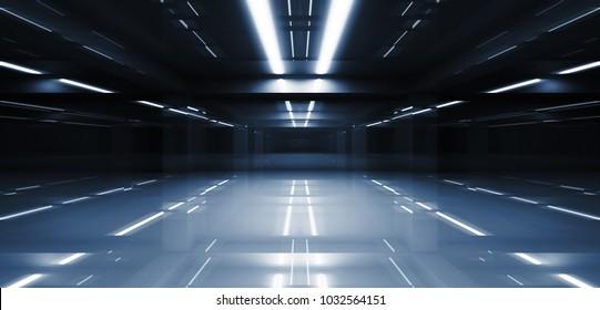 Abstract dark tunnel perspective with neon lights illumination. 3d illustration
