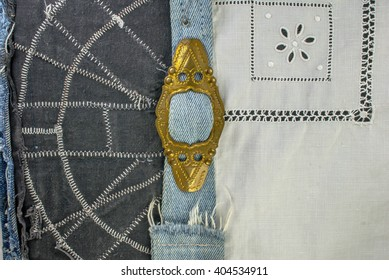 abstract decorative background - blue jeans texture, iron plaque belt, chintz