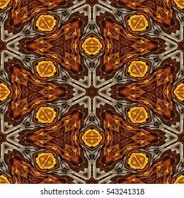 Abstract decorative brown texture - kaleidoscopic ornamental pattern