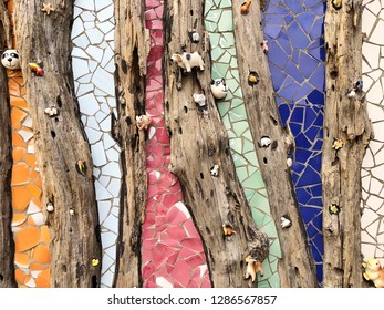 Abstract decorative old wood and mosaic ceramic tile wall background