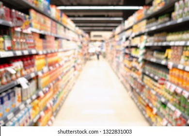 Abstract Defocus Blurred of Consumer and Goods in Supermarket Grocery Store., Business Retail and Customer Shopping Mall Service., Motion Blurry Concept.