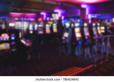 Abstract defocused with blur and bokeh in casino interior for background