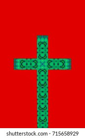 abstract design of a cross in green on a red background