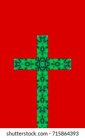 abstract design of a cross in shades of green on a red background