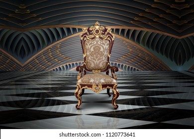 Abstract design of empty throne in palace hall