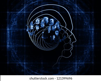 Abstract design made of human head and fractal grids on the subject of science, technology and intelligent life in the Universe